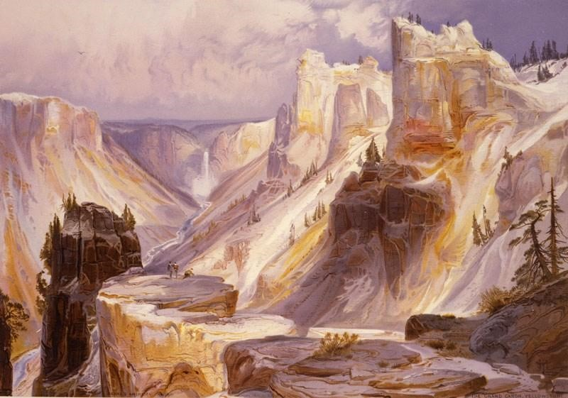 One of the chromolithographs in the Yellowstone, Then and Now Exhibit